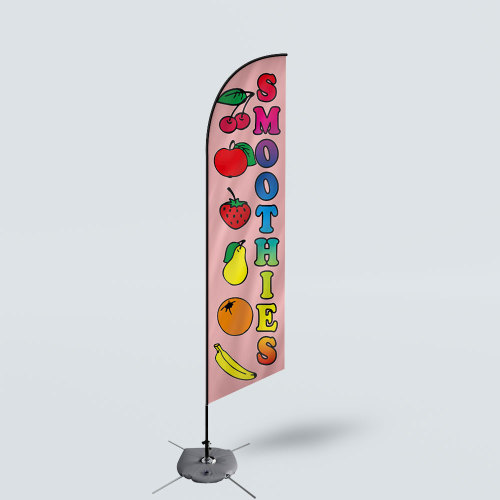 Sinonarui Smoothies Style Low Price Hot Selling Custom Pattern Beach Flags Feather Flags