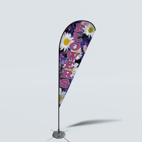 Sinonarui Flowers Low Price Hot Selling Custom Pattern Beach Flags Teardrop Flags