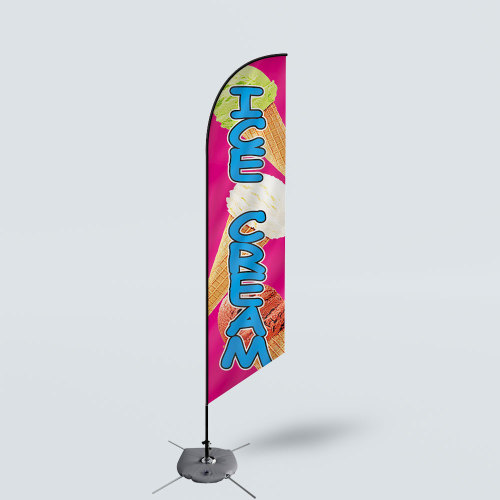 Sinonarui Ice Cream Low Price Hot Selling Custom Pattern Beach Flags Feather Flags