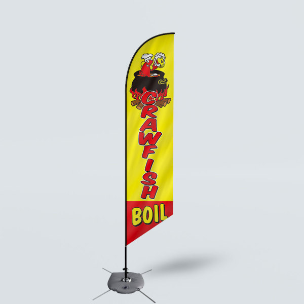 Sinonarui Craw Fish Boil Low Price Hot Selling Custom Pattern Beach Flags Feather Flags
