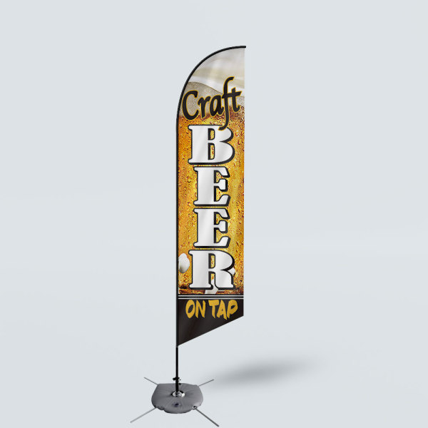 Sinonarui Craft Beer On Tap Low Price Hot Selling Custom Pattern Beach Flags Feather Flags