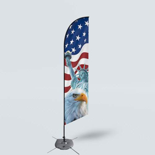 Sinonarui America Eagle Low Price Hot Selling Custom Pattern Beach Flags Feather Flags