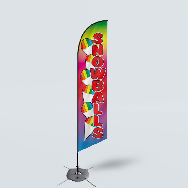 Sinonarui Snow Ball Low Price Hot Selling Custom Pattern Beach Flags Feather Flags