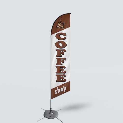 Sinonarui Coffee Shop Low Price Hot Selling Custom Pattern Beach Flags Feather Flags