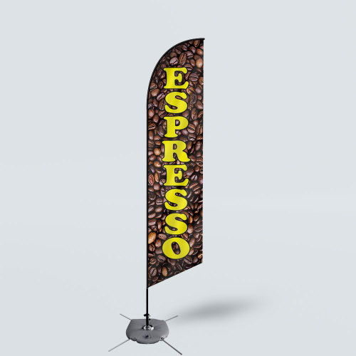 Sinonarui Espresso Low Price Hot Selling Custom Pattern Beach Flags Feather Flags