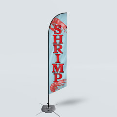Sinonarui Shrimp Salon Low Price Hot Selling Custom Pattern Beach Flags Feather Flags