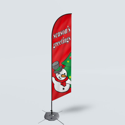 Sinonarui Season's Greeting's Low Price Hot Selling Custom Pattern Beach Flags Feather Flags