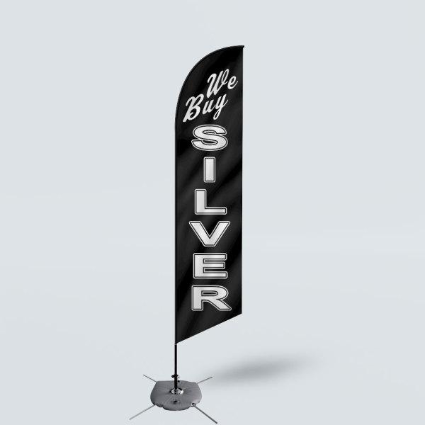Sinonarui We Buy Silver Low Price Hot Selling Custom Pattern Beach Flags Feather Flags