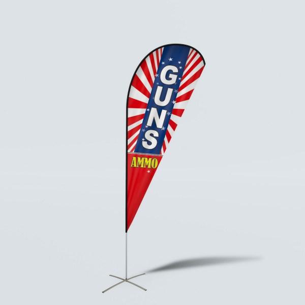 Sinonarui Guns Ammo Low Price Hot Selling Custom Pattern Beach Flags Teardrop Flags