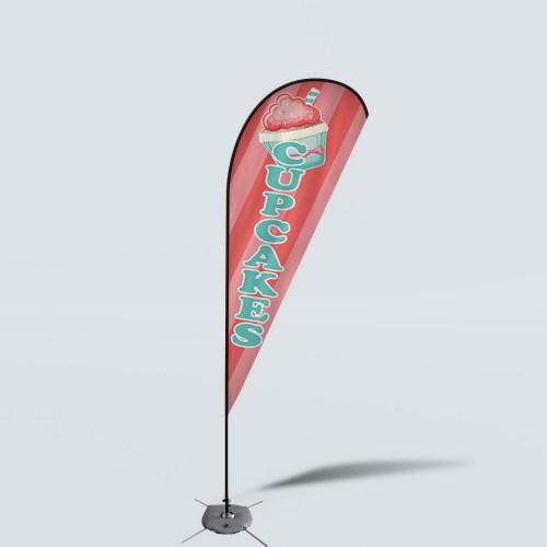 Sinonarui Cupcakes Low Price Hot Selling Custom Pattern Beach Flags Teardrop Flags