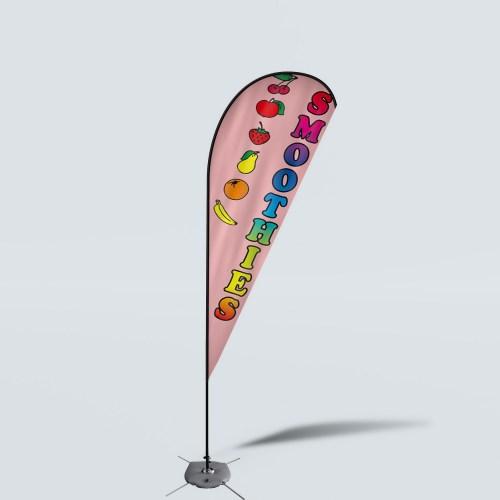 Sinonarui Smoothies Low Price Hot Selling Custom Pattern Beach Flags Teardrop Flags