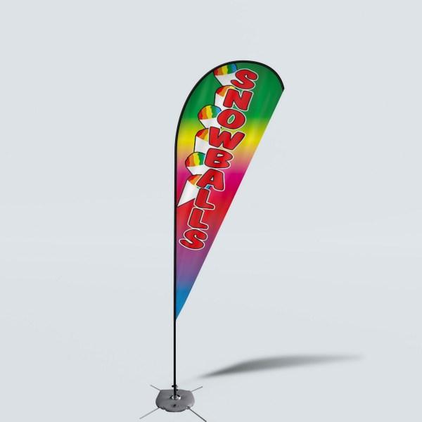 Sinonarui Snowballs Low Price Hot Selling Custom Pattern Beach Flags Teardrop Flags