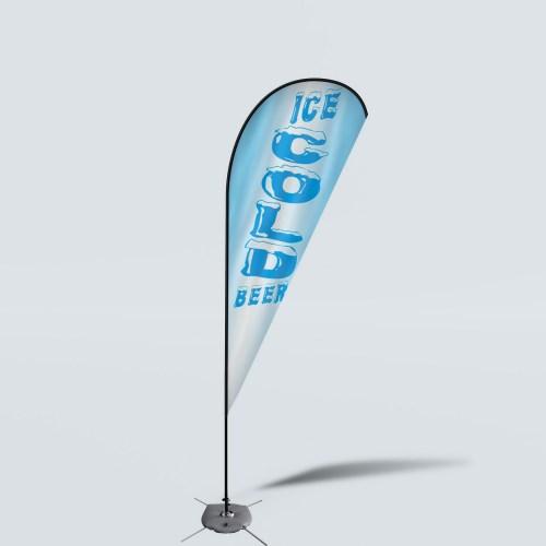 Sinonarui Ice Cold Beer Low Price Hot Selling Custom Pattern Beach Flags Teardrop Flags