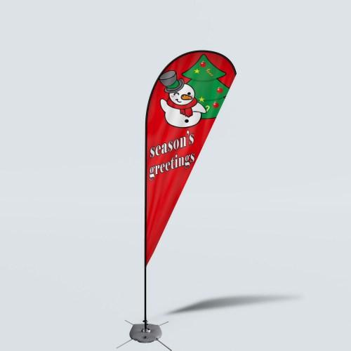 Sinonarui Season's Greeting's Low Price Hot Selling Custom Pattern Beach Flags Teardrop Flags