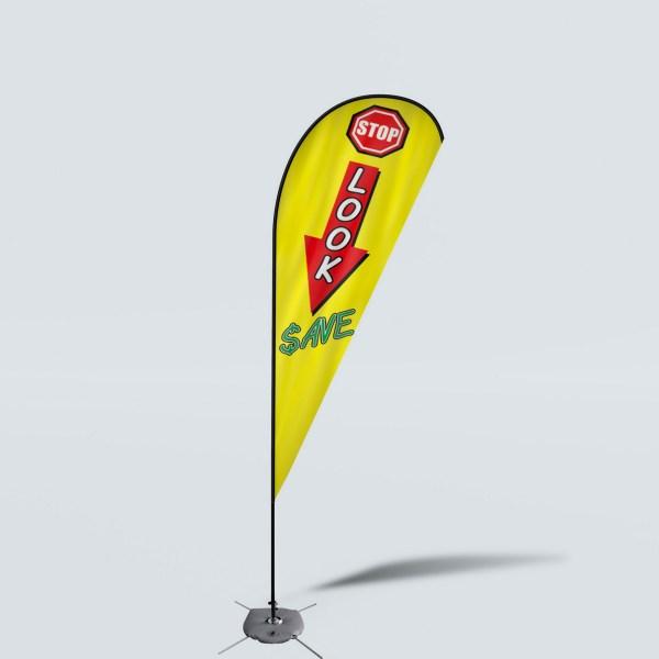 Sinonarui Stop Look Save Low Price Hot Selling Custom Pattern Beach Flags Teardrop Flags