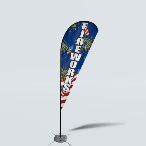 Sinonarui Fireworks Low Price Hot Selling Custom Pattern Beach Flags Teardrop Flags