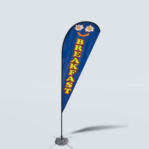 Sinonarui Breakfast Low Price Hot Selling Custom Pattern Beach Flags Teardrop Flags