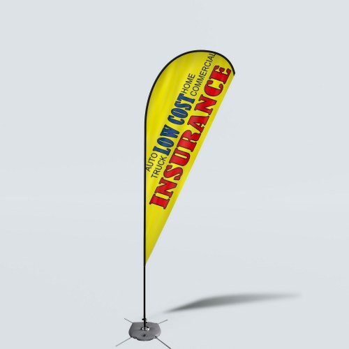 Sinonarui Low Cost Insurance Low Price Hot Selling Custom Pattern Beach Flags Teardrop Flags