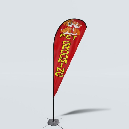 Sinonarui Pet Grooming Low Price Hot Selling Custom Pattern Beach Flags Teardrop Flags