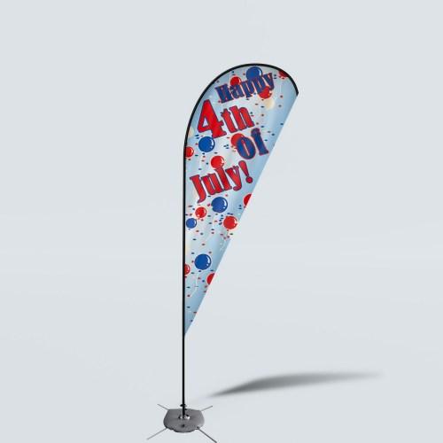 Sinonarui Happy 4th Of July Low Price Hot Selling Custom Pattern Beach Flags Teardrop Flags