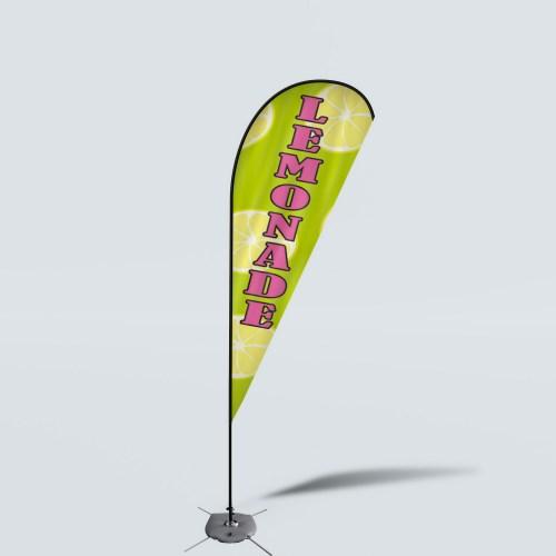 Sinonarui Lemonade Low Price Hot Selling Custom Pattern Beach Flags Teardrop Flags