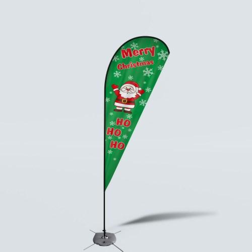 Sinonarui Merry Christmas Low Price Hot Selling Custom Pattern Beach Flags Teardrop Flags