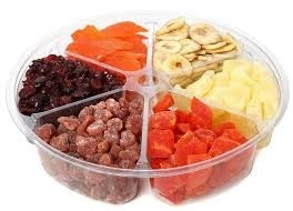 Tray with dried fruit
