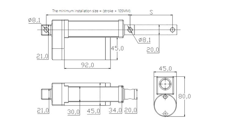 YA250 dc motor programmable 12v 24v miniature linear