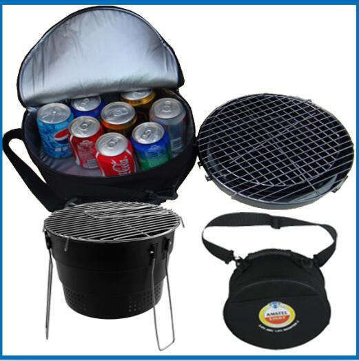mini fodable round grill with cooler bag made of the carbon steel