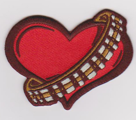 Custom embroidered heart patch iron on top of costume cap badge sticker accessories