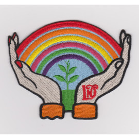 Custom high quality 100% embroidered badge embroidered patch rainbow hand / Garment Patch