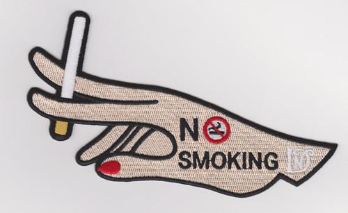Custom-made large-size embroidered badge patch smoker / no-smoking souvenir badge