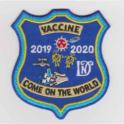 Custom 100% embroidered badge wash hands frequently to prevent virus embroidery patches / Garment Patches