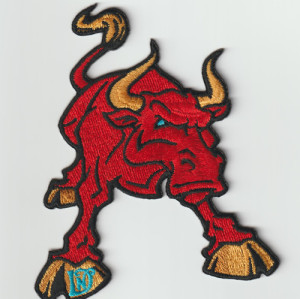 Custom animal logo 100% machine embroidered patch / garment patch / Red Bull