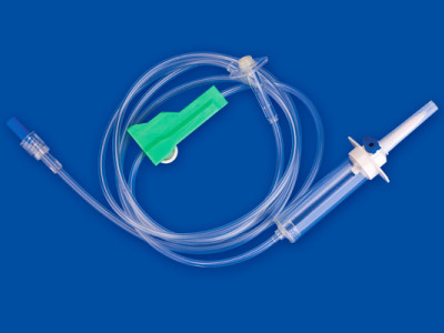 Air flow stop infusion set