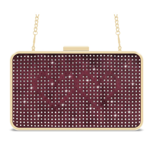 Red velvet removable shoulder strap crystal clutch evening bag