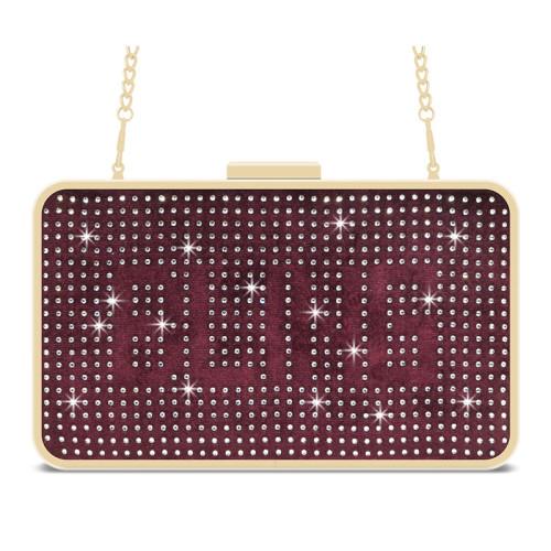 Red velvet removable shoulder strap crystal clutch evening bag