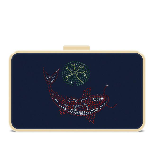 Blue nylon removable shoulder strap crystal clutch evening bag