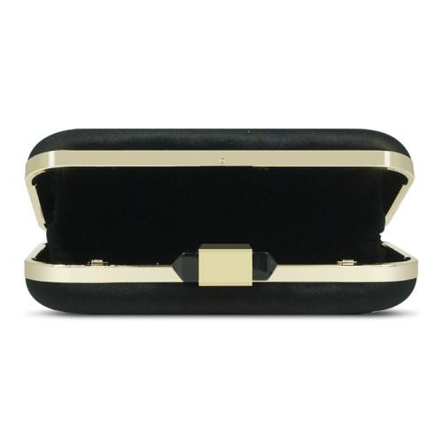 Black velvet removable shoulder strap crystal clutch evening bag