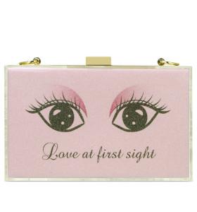Pink acrylic gold glitter powder leisurebag