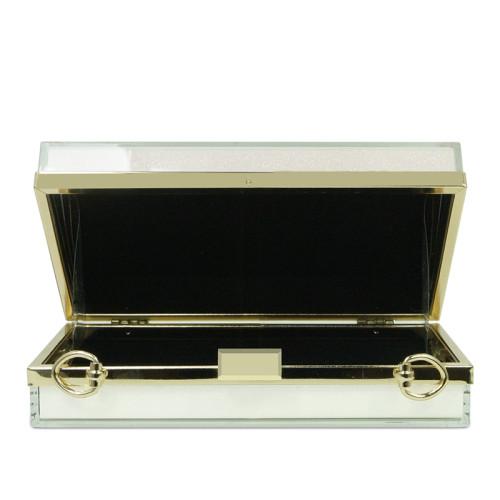White acrylic gold glitter powder leisurebag