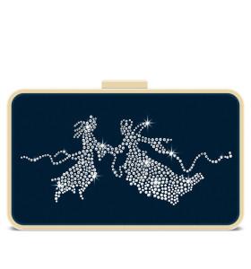蓝色尼龙可拆卸肩带水晶晚宴包