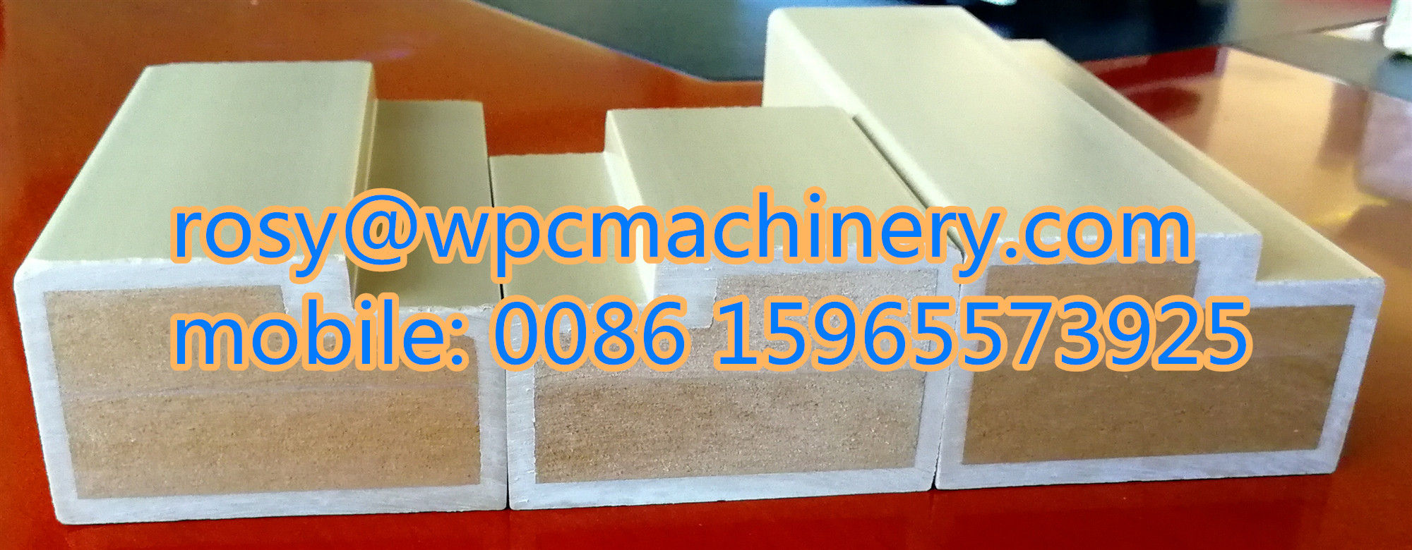 Wood reinforced WPC door frame machine for india customer