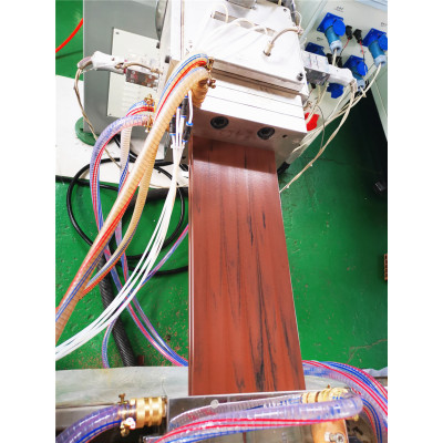 PE WPC profile extrusion line to make wood color by single extruder