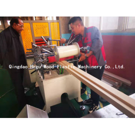 Protection film coating online for WPC door frame extrusion line