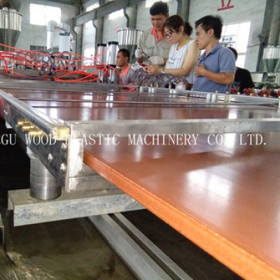 WPC sheet extrusion line using recycled plastic and 70% wood powder