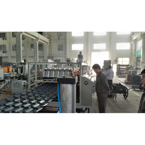 1050mm PVC Corrugated roof tile making machine with ASA coating colorful surface