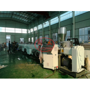 75-250mm Plastic PVC Pipe Manufacturing Machine Line with conical double screw extruder manufacturer