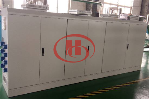Electricity control for WPC foam board machine