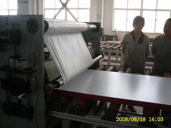Top surface hot stamping machine on WPC board
